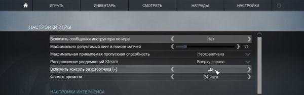 Включить консоль разработчика (~)